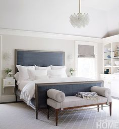 Greige: Interior Design Ideas And Inspiration For The Transitional Home :  Grey And Blue In The Bedroom. I Like The Colors In This Room.