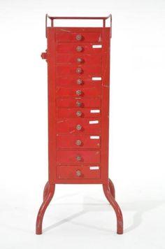 Found on EstateSales.NET: RED INDUSTRIAL CABINET