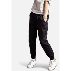 UNIQLO Denim Jogger Trousers ($33) ❤ liked on Polyvore featuring pants, relaxed fit pants, uniqlo pants, relaxed pants, jogger trousers and jogger pants