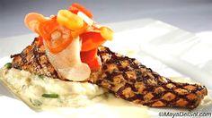pescado del dia grilled dill marinated skuna bay salmon | brandade · yukon gold potatoes · vegetable escabeche · sweet corn cream sauce