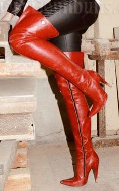 Thigh High Boots Heels, High Heels, High Leather Boots, Red Boots, Long Boots, Over The Knee Boots, Shoe Boots, Lady, Clothes