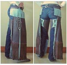 Armitas made by H Ballantyne Leather, I want some of her chinks, shes so talented.