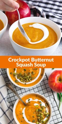 Healthy vegan recipe for the BEST Slow Cooker Butternut Squash Soup with coconut milk and apple. The crock pot makes it easy and it tastes better than Panera! Rich, creamy, and made with simple ingredients, this is one of the best fall comfort foods. Vegan Crockpot Recipes, Healthy Soup Recipes, Crockpot Veggies, Vegan Slow Cooker, Slow Cooker Soup, Butternut Squash Soup Crockpot, Healthy Butternut Squash Recipes, Vegan Squash Soup, Clean Eating