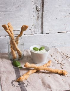Pesto Dip and Pizza Dough Sticks