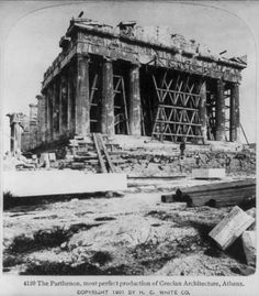 The Parthenon of Athens - Old Photos of Greece Ancient Greek Architecture, Historical Architecture, Old Pictures, Old Photos, Classical Greece, Greek History, Still Picture, Athens Greece, Acropolis Greece