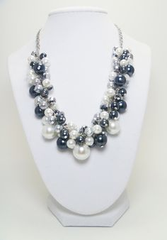 @Delia Aguilar Zuani Teahan  Chunky Pearl Necklace -  White, gray and black cluster of pearls with crystals bridal, wedding, bridesmaids beaded necklace - Monochrome -