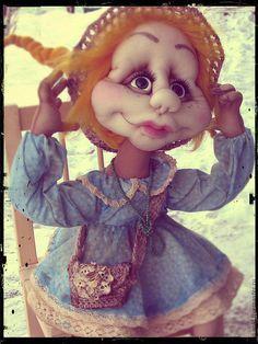 Коллекционные куклы ручной работы. Ярмарка Мастеров - ручная работа. Купить Скульптурно-текстильная кукла. Полли.. Handmade. Голубой