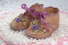 Handmade by Nana | Embroidered baby shoes handmade with love for our first grand-daughter, Victoria.