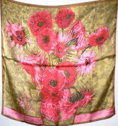 "Fine Art  Brand New 100% Silk Satin Scarf, 32"" x 32"" #Scarf"