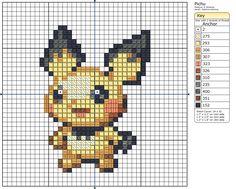 Cross Stitch Patterns 172 - Pichu cross stitch pattern by Makibird-Stitching ~ she has a lot of patterns! Beaded Cross Stitch, Cross Stitch Art, Cross Stitch Designs, Cross Stitching, Cross Stitch Embroidery, Cross Stitch Patterns, Pichu Pokemon, Pokemon Cross Stitch, Pokemon Craft