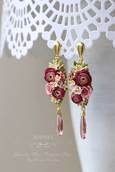 Stunning flower earrings from polymer clay. Ranunculus flowers.
