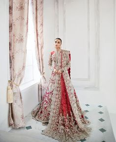 Luxury fashion brand renowned for its intricately detailed and luxurious evening and bridal wear and tastefully body-conscious silhouettes. Asian Bridal Dresses, Asian Wedding Dress, Indian Bridal Outfits, Indian Bridal Wear, Pakistani Bridal Dresses, Wedding Dresses For Girls, Indian Dresses, Bridal Gowns, Pakistani Suits