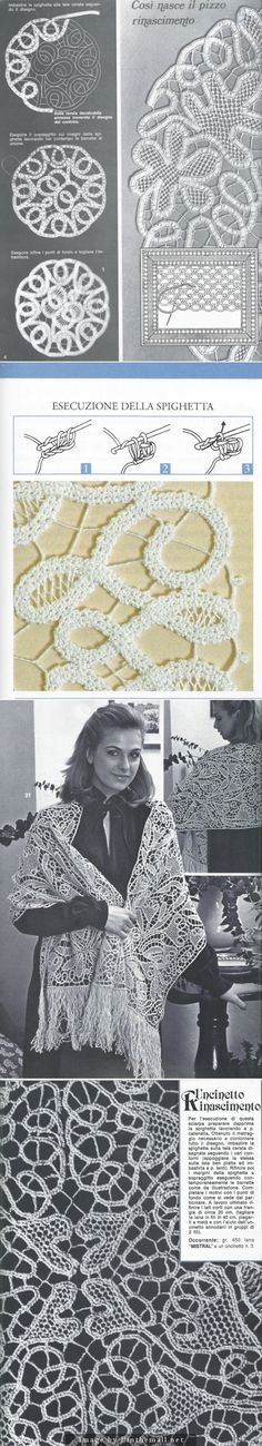 """""""Renaissance #Lace made with #crocheted tapes. A beautiful technique for clothing and housewares both."""" #KnittingGuru *** http://www.KnittingGuru.etsy.com"""