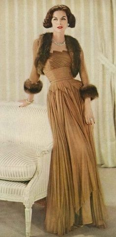 Fabulous 1950s brown evening dress with matching fur trimmed shrug jacket