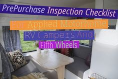 Web site: www.blogkf.com Pre-Purchase Inspection Checklist For Applied Motorhome, RV, Campers And Fifth Wheels Buying a utilised RV is just not as simple as it may well look. It may be In particular complicated are you currently are going to be residing in the motorhome or fifth wheel for just about any length of time. It could be likened to purchasing an auto as well as a dwelling at the same time, besides this property has wheel and goes sixty five miles per hour, which motor vehicle provi Motor Vehicle, Motor Car, Rv Insurance, Caravan Decor, Buying An Rv, Rv Dealers, Fifth Wheel, Rv Campers, Motorhome