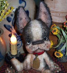 "Primitive Boston Terrier French Bulldog 8"" Doll Vtg Dog Tag Patti's Ratties Bear | eBay"
