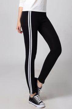 Fashion Women Elastic Waist Side Striped Ankle Sports Yoga Leggings