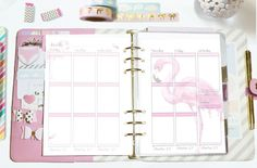 EC Style Vertical Weekly Printable Planner Insert for A5/Large Size Undated This product is part of the Flamingo collection and feature hand-painted, pink flamingo watercolour illustrations. This pack includes a beautiful watercolour flamingo design. With the optional choice of vitamin & water daily trackers for each design. All days are labeled in a cute font that goes well with your handwriting. This insert is undated so that you can print and use this as many times as you would...
