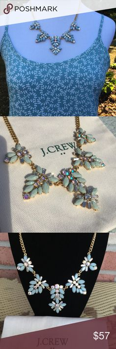 "J CREW MINT BLUE & IRIDESCENT CRYSTAL NWT NO BUNDLING. PRICE FIRM J CREW Mint Blue (not dark) floral shapes dangling with iridescent round faceted crystals that pick up surrounding colors and baguette crystals to compliment the shapes and add to its unique beauty - all set in gold tone ox plating. 16"" with a 3"" extender🌸 ALSO, see blue boho dress listed in my closet. J. Crew Jewelry Necklaces"