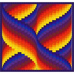 Ribbon Swirls Bargello Quilt Pattern To me, the design of this quilt looks like a ribbon being swirled around by a gymnast so thats what I . Motifs Bargello, Bargello Quilt Patterns, Bargello Quilts, Quilting Patterns, Graph Paper Drawings, Graph Paper Art, Palacio Bargello, Pixel Art, Arte Sharpie