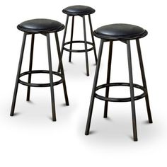"3 24"" Black Finish Metal Swivel Barstools Black Vinyl Seat by The Furniture Cove. $169.88. 24"" Seat. Black Vinyl Seat Fabric. Seat Swivels 360 degrees. Footrests. Set of 3 Stools. These are new 24"" black metal stools. They have footrests and have a swivel seat! The seats are made of black vinyl and are reminiscent of the old soda fountain parlors. The pads are 14"" across and the seats are 24"" tall.  In this listing you will receive 3 (THREE) 24"" bar stools. Black Bar Stools, 24 Bar Stools, Home Bar Furniture, Kitchen Furniture, Metal Stool, Soda Fountain, Foot Rest, Black Metal, Home Kitchens"