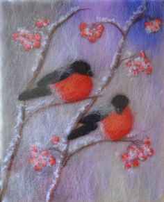 Wool Painting Two bullfinches Wool Art Felt by WoolPictures