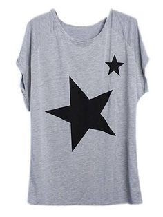 Fashionable Women Short Sleeve O Neck Star Pattern Printed Loose T-shirt Online - NewChic