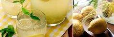 ½ cup sugar  ½ cup water  4-6 lemons, enough to make a cup of lemon juice  2 cups water  2 sprigs mint (optional)