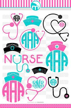 Nurse SVG Cut Files  Monogram Frames for Vinyl by MoonMinted