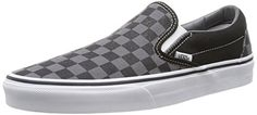 Vans Unisex Classic Slip-On (Checkerboard) Black/Pewter Checkerboard Skate Shoe 10 Men US / Women US: The shoe that started it all. The iconic Vans Classic Slip-On keeps it simple and classic. Low Top Sneakers, Sneakers Mode, Vans Shoes Women, Loafers For Women, Vans Classic Slip On, Wide Shoes, Slip On Shoes, Vans Authentic, Womens Fashion Sneakers