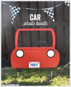 This post contains affiliate links. If purchased, I will receive a commission. We saw this AMAZING idea for a photo booth here and knew we had to try and re-create it for the Race Car Birthday Party! The kids loved it and it made for great pictures! Using the pictures from this blog post as inspiration, we did our best to create our own free standing car photo booth. Here's how we did it: Materials: cardboard, an X-acto knife or scissors, red duct tape, black duct tape, two wooden dowels, a…