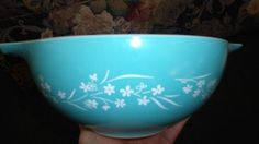 Vintage RARE Pyrex Turquoise Aqua Unknown Flowers 443 Gypsy | eBay