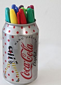 DIY Can into pencil holder - Would make such a great gift for those die hard soda friends