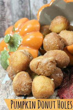 Traditional donut holes are oh-so-yummy, but this fall inspired recipe is even better! This baked pumpkin donut recipe combines pumpkin pie seasoning blends, pumpkin puree, and a sweet sugar glaze. Pumpkin Donut Recipe Baked, Donut Hole Recipe, Baked Pumpkin, Donut Recipes, Pumpkin Recipes, Fall Recipes, Pumpkin Spice, Pumpkin Puree, Cooking Recipes