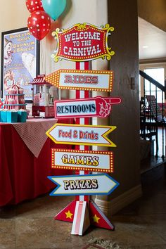 Carnival Party Sign @Danielle Lampert Quarmby ...did you see this...very cool