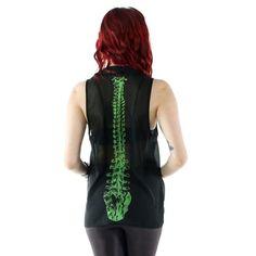 Spineless mouwloze blouse met kraag en wervelkolom botten print zwart - Gothic