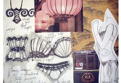 Fashion Sketchbook - lingerie design drawings with theme development - contour fashion design; fashion portfolio // Bryony Bennett