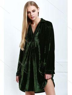 Loose Velvet Shirt Dress - ARMY GREEN L Mobile