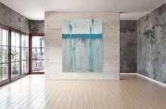 Large Teal Wall Art - Modern Blue Original Abstract Painting by Chris Mundwiller