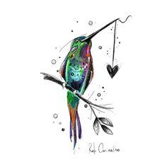 """Acelerado"" - Arte digital Rob Carvalho Art - My most beautiful tattoo list Mommy Tattoos, Love Tattoos, Beautiful Tattoos, Body Art Tattoos, Tatoos, 3d Tattoos, Hummingbird Tattoo Watercolor, Hummingbird Art, Watercolor Bird"