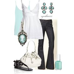 """Aqua"" by cynthia335 on Polyvore"