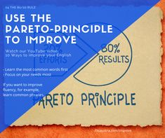 Use the Pareto-principle to improve your English. And here are 9 other ways to improve your English. Improve Your English, Learn English, Focus On Yourself, Improve Yourself, Pareto Principle, Common Phrases, You Videos, Learning, Words