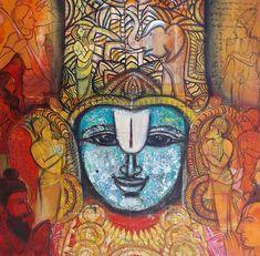 Krishna Leela, Krishna Art, Indian Art Paintings, Modern Art Paintings, Kalamkari Painting, Lord Balaji, Ganesha Painting, Lord Vishnu, Fibre Art
