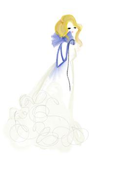 HAUTE SKETCH BLOG / DESIGNSBYBC: Blue Bow-Back Gown #fashionillustration #fashion #art