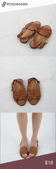 vintage 90s brown leather sandals vintage 90s brown leather sandals from soft flexible. open toe, slingback, padded insoles, made in Brazil. distressed vintage appearance; soles are good condition. size marked 6.5, runs small. best fits a 5.5N. Vintage  Shoes Sandals