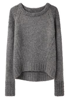 Bi-Knit Sweater by VPL. Subtly two-toned raglan sleeve pullover with contrasting knit patterns & inset stitch details.