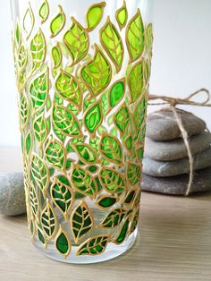 Water Glass Green ombre leaves glass tumbler Hand painted