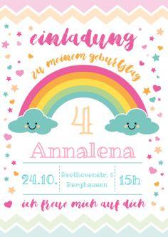 Süße Regenbogen Einladungskarte In Pastell Zum 4. Geburtstag Für Mädchen. 5  GeburtstagRegenbogenEinladung KindergeburtstagPastell EinladungenEinladungskarten ...