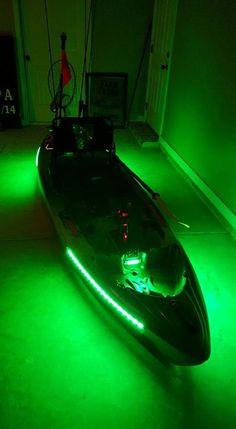 DIY Kayak Led Lights - It's very easy to do this. Item's neededHot glue gunWaterproof led strip from li - Kayak Fishing Gear, Fishing Kit, Bass Fishing Tips, Kayak Camping, Canoe And Kayak, Kayak Boats, Canoes, Kayaks, Kayak Lights