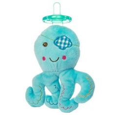 Mary Meyer Wubbanub Baby Buccaneer Blue Octopus Plush Pacifier Soothie Holder <p> MSRP $16.00